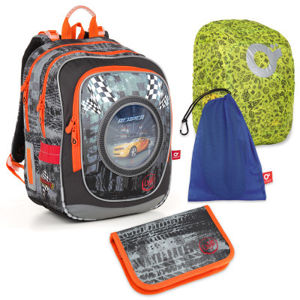 Sada pre školáka ENDY 18018 B SET LARGE - školská taška, vrecko na prezuvky, pláštenka na batoh, školský peračník