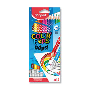 Pastelky s gumou Maped Color'Peps Oops – 12 farieb
