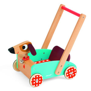 Drevené chodítko a vozík na tlačenie Veselý pes