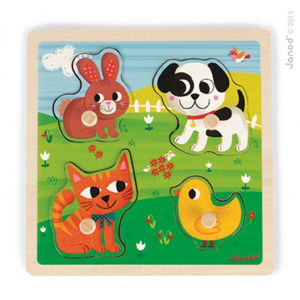 Drevené vkladacie dotykové puzzle - Domáce zvieratká